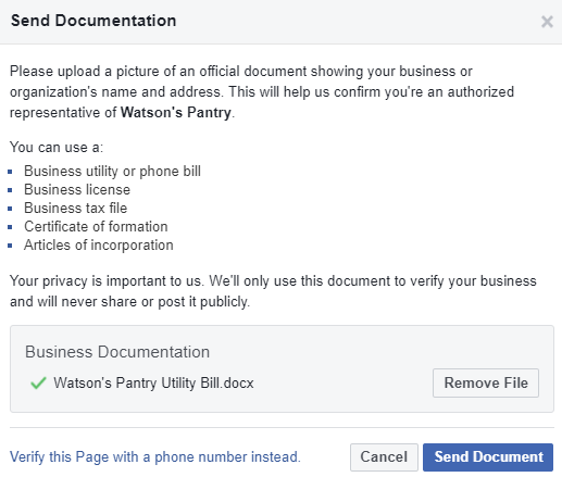 business verification status facebook